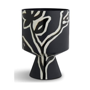 Tmavomodrý kameninový kvetináč na podstavci Kähler Design Fiora