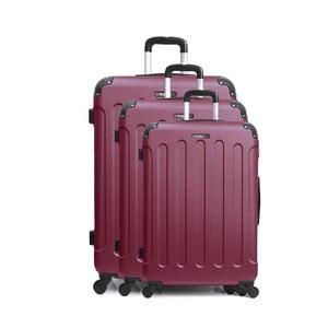 Sada 3 tmavočervených cestovných kufrov na kolieskách Bluestar Vanity Cadenas
