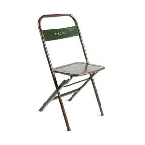 Zelená kovová skladacia stolička s patinou RGE Mash