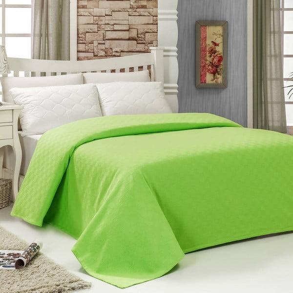Prikrývka na posteľ Pique Green, 200x240 cm