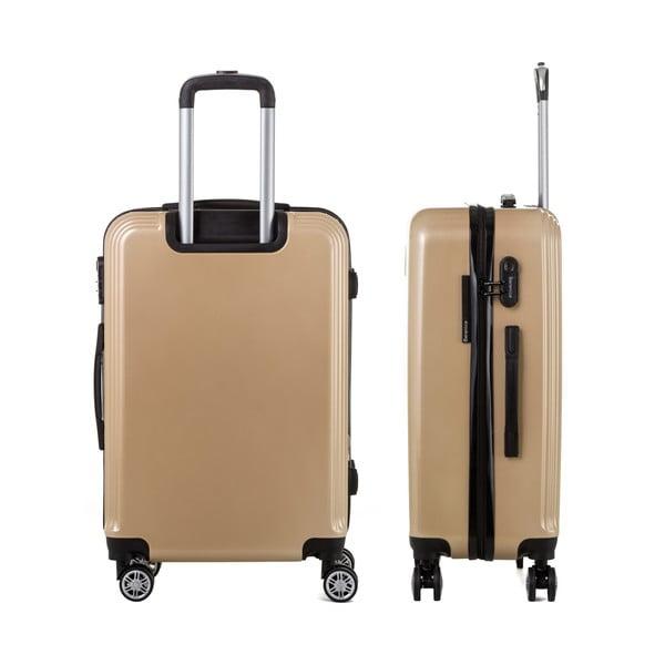Cestovný kufor v zlatej farbe so sadou nálepiek Berenice Stickers, 71 l