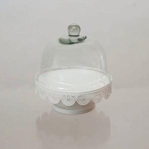 Biely kovový podnos so skleneným poklopom Dino Bianchi, ⌀ 20,5 cm