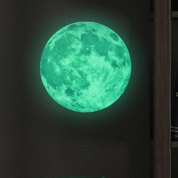 Nástenná svietiaca detská samolepka Ambiance Real Moon, ⌀ 30 cm