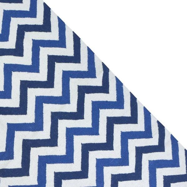 Vlnený koberec Geometry Zic Zac Dark Blue Mix, 160x230 cm