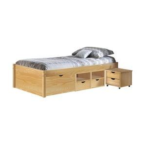 Drevená jednolôžková posteľ s úložným priestorom 13Casa Clas, 90 x 200 cm