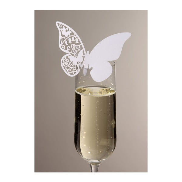 Sada 10 menoviek/rozlišovačov na poháre Butterflies, biela