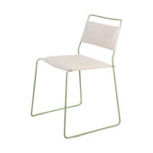 Biela stolička so zelenou konštrukciou OK Design One Wire