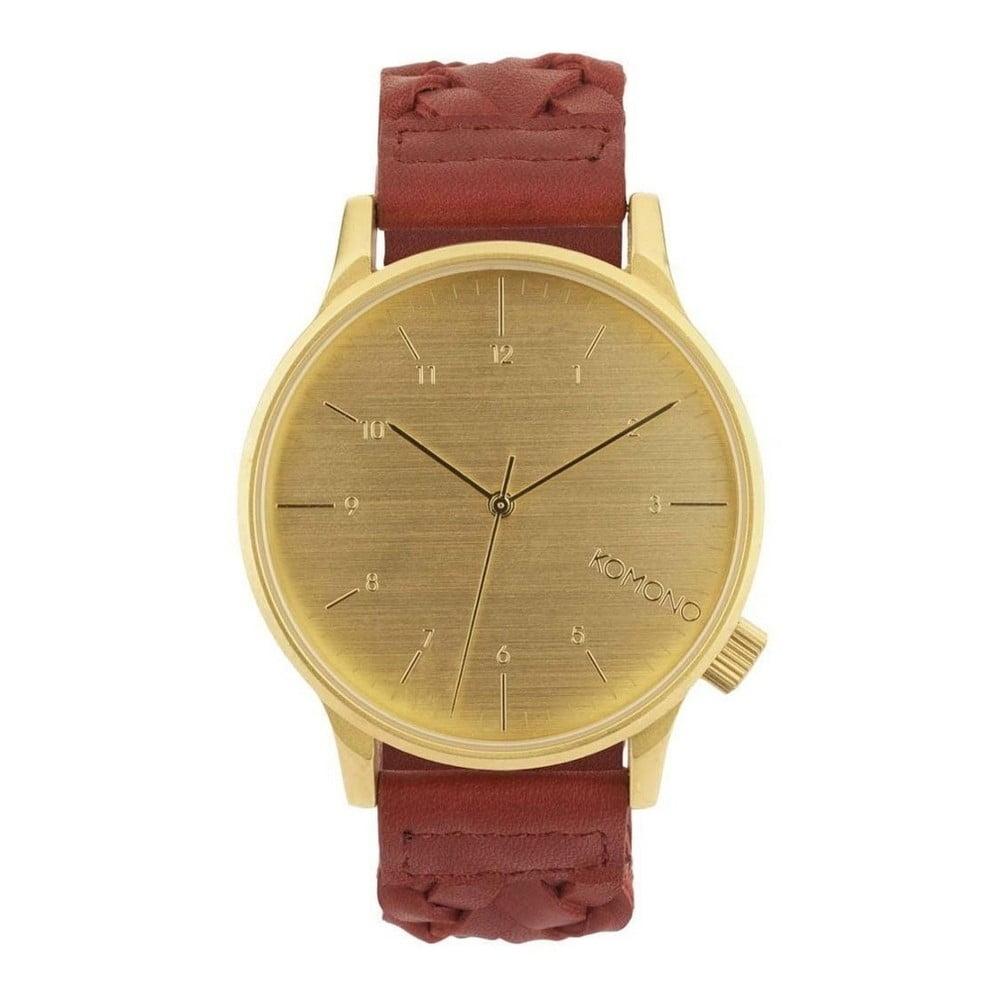 Pánske hnedé hodinky s koženým remienkom a ciferníkom v dekore dreva Komono  Wowen Burgundy 029200d1a0e