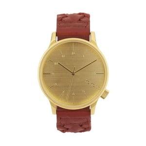 Pánske hnedé hodinky s koženým remienkom a ciferníkom v dekore dreva Komono Wowen Burgundy