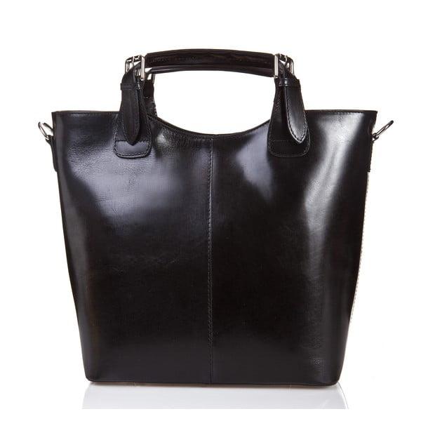 Čierna kožená kabelka Massimo Castelli Valeria