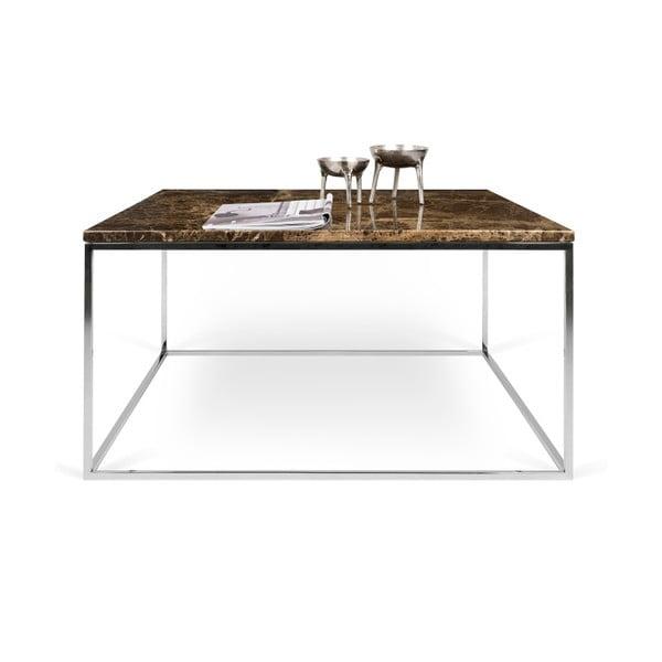Hnedý mramorový konferenčný stolík s chrómovými nohami TemaHome Gleam, 75cm