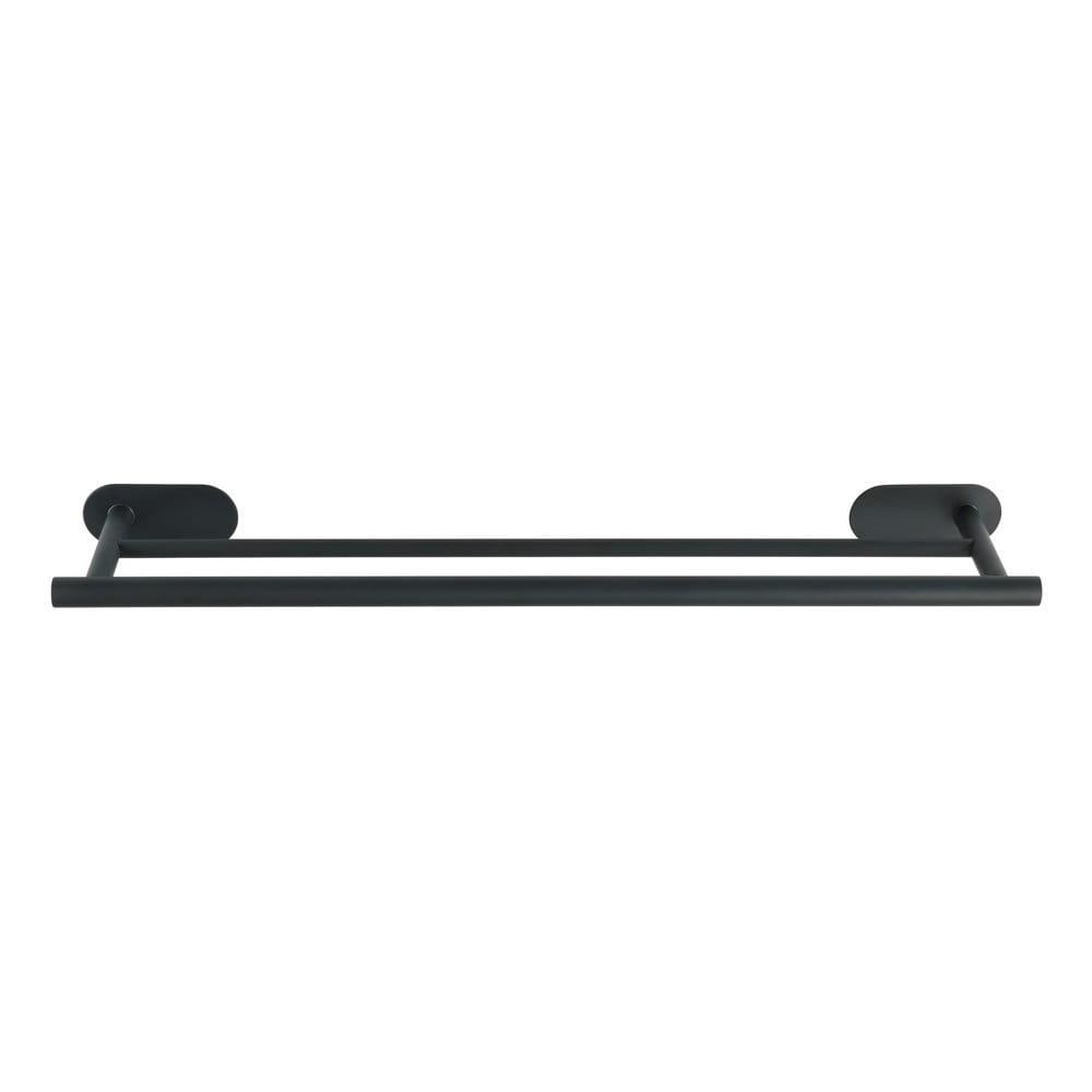 Antikoro matne čierny dvojitý nástenný držiak na uteráky Wenko Orea Rail Duo Turbo-Loc ®