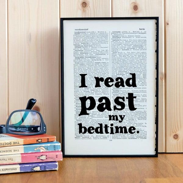 Plagát v drevenom ráme I Read Past My Bedtime