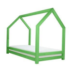 Zelená jednolôžková posteľ z borovicového dreva Benlemi Funny, 80 x 160 cm