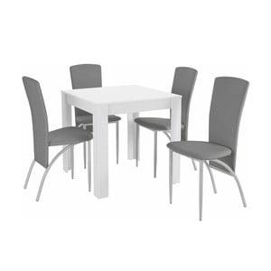 Set jedálenského stola a 4 sivých jedálenských stoličiek Støraa Lori Nevada Duro White Light Grey