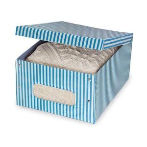 Modrý úložný box Domopak Stripe, dĺžka 50 cm