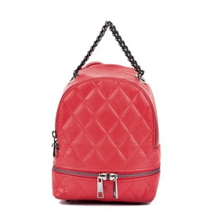 Červený kožený dámský batoh Roberta M Musillo