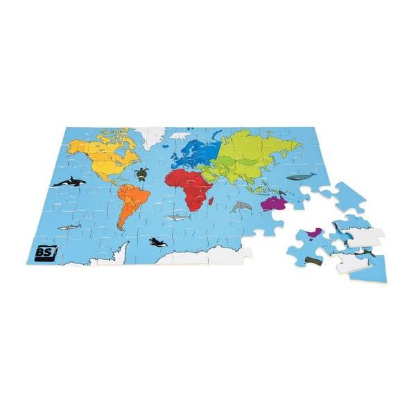 Puzzle s mapou sveta World