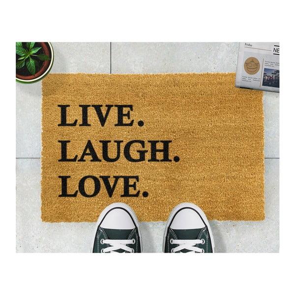 Rohožka z prírodného kokosového vlákna Artsy Doormats Live Laugh Love, 40×60 cm