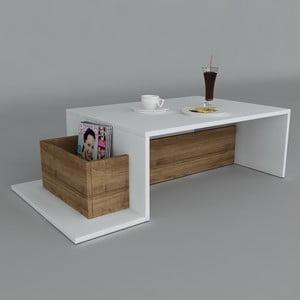 Konferenčný stolík Pot White/Walnut, 60x106,8x32 cm
