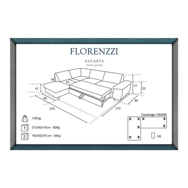 Tmavomodrá rozkladacia pohovka Florenzzi Savasta s leňoškou na ľavej strane