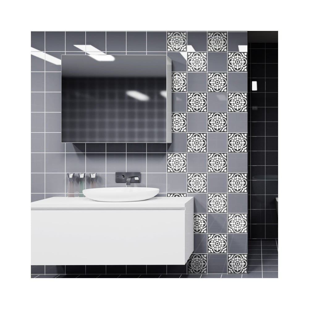 Sada 60 nástenných samolepiek Ambiance Wall Decals Classic Tiles Shade of Grey, 15 × 15 cm