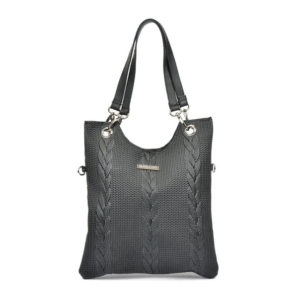 Čierna kožená kabelka Mangotti Bags Lidia