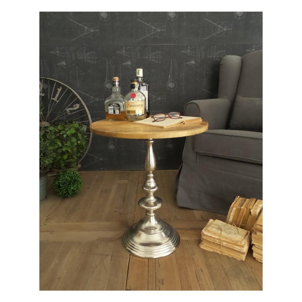 Odkladací stolík s doskou z mangového dreva Orchidea Milano, ⌀ 51 cm
