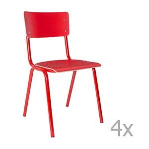 Sada 4 červených stoličiek Zuiver Back to School