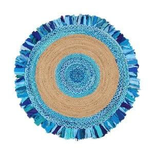 Okrúhly koberec z juty a bavlny Eco Rugs Aqua, Ø 120 cm