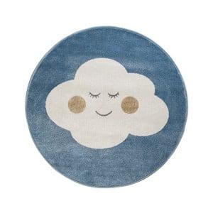Modrý okrúhly koberec s motívom mraku KICOTI Azure, 80 × 80 cm