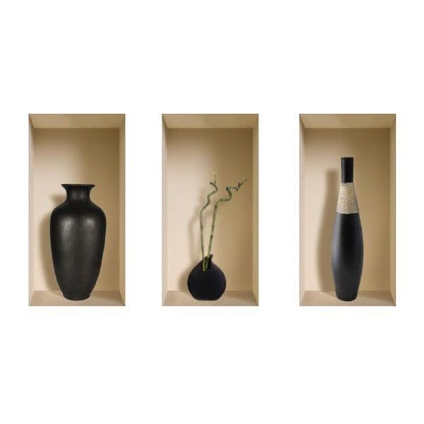3D samolepky na stenu Nisha Vases Louxor, 3 ks