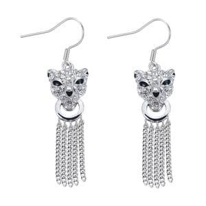 Náušnice s bielymi krištáľmi Swarovski Elements Crystals Panther Elegant