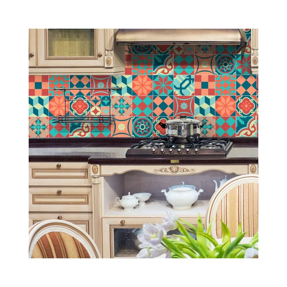 Sada 16 nástenných samolepiek Ambiance Wall Stickers Tiles Azulejos Colorful Vintage Style, 10 × 10 cm