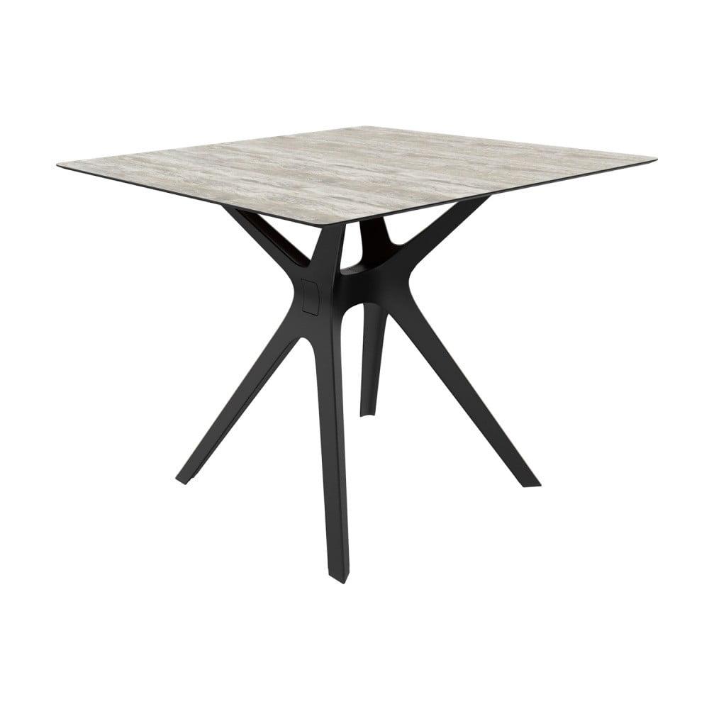 Jedálenský stôl s čiernymi nohami a sklenenou doskou vhodný do exteriéru Resol Vela, 90 × 90 cm