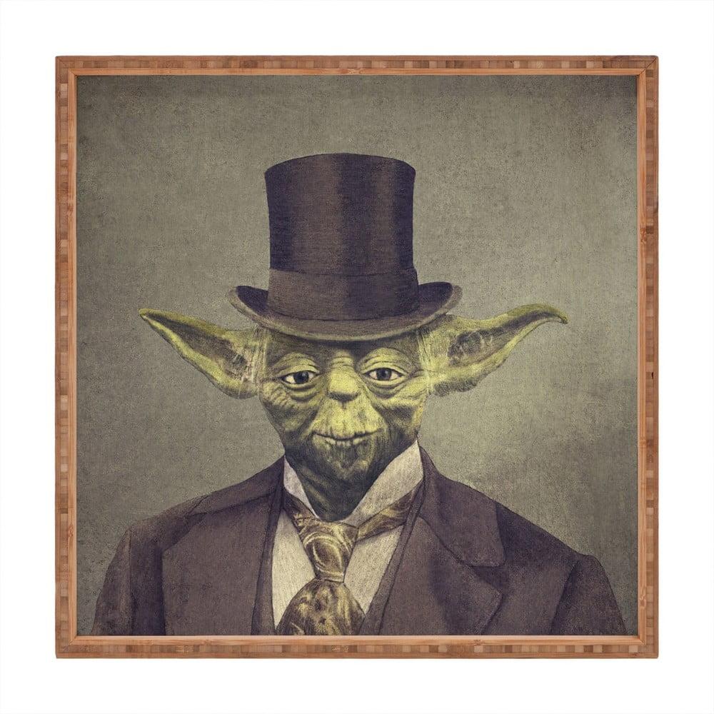 Drevený dekoratívny servírovací podnos Yoda, 40 × 40 cm