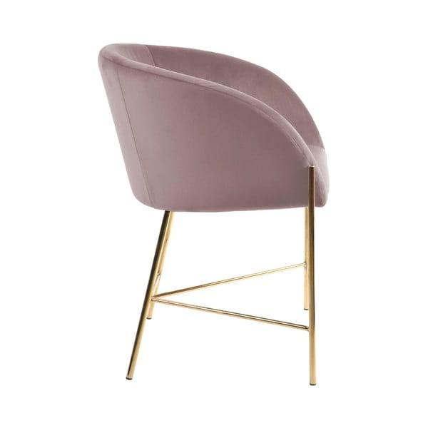 Pastelovoružová stolička s nohami v zlatej farbe Interstil Nelson