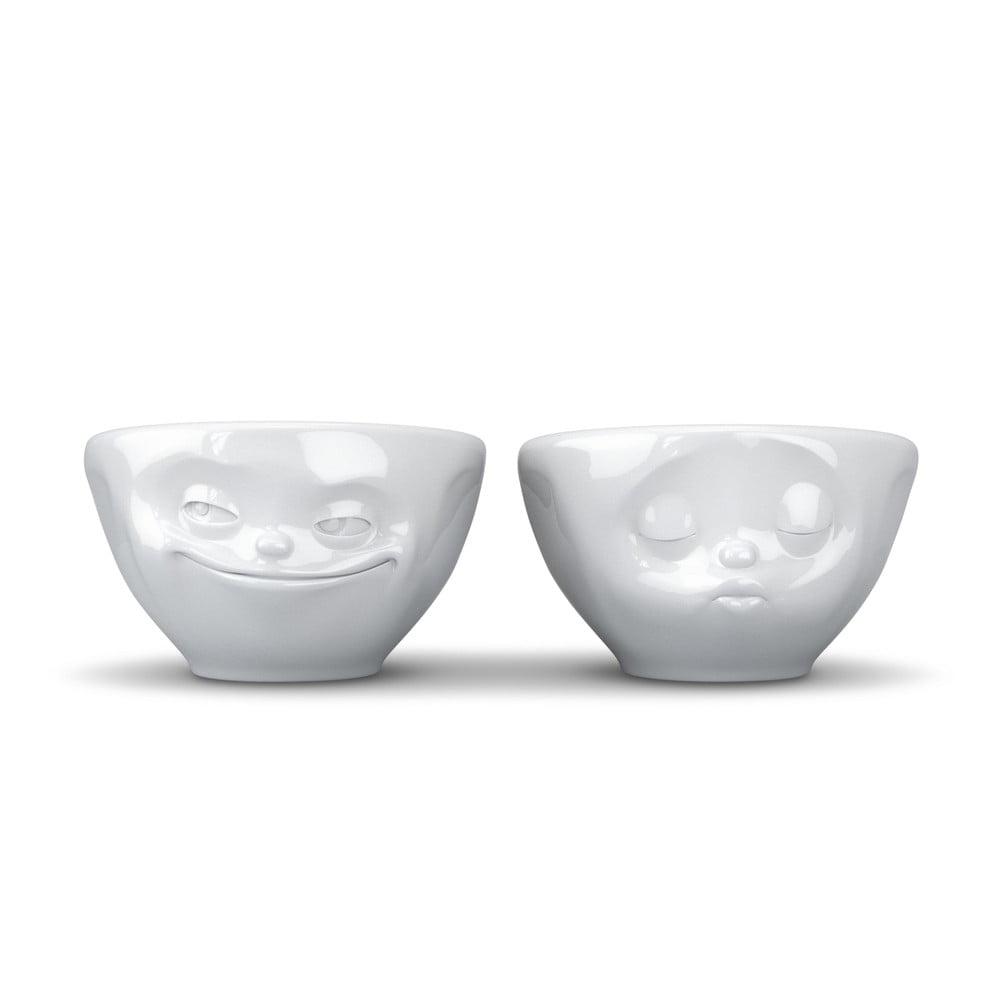 Sada 2 bielych zamilovaných malých šálok z porcelánu 58products, objem 100 ml