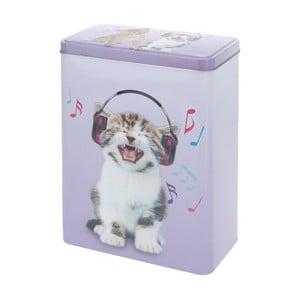 Kovová dóza Music Kitty, 18x25 cm