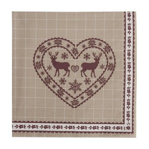 Béžové obrúsky  Clayre & Eef Xmas Heart, 20ks