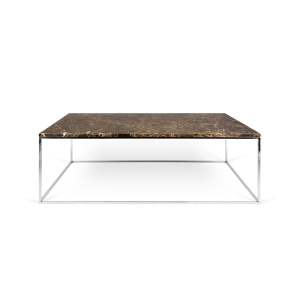 Hnedý mramorový konferenčný stolík s chrómovými nohami TemaHome Gleam, 120cm