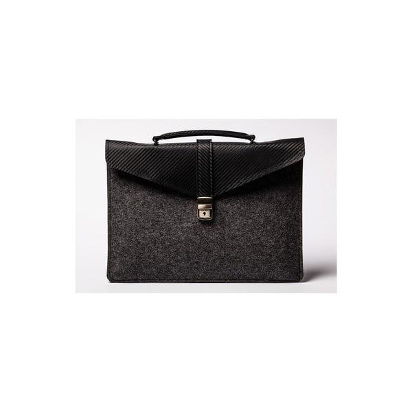 Taška na notebook z pravej kože Éstie, tmavo sivá