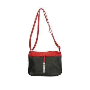 Čierna kožená kabelka s červenými detaily Roberto Buono Meril