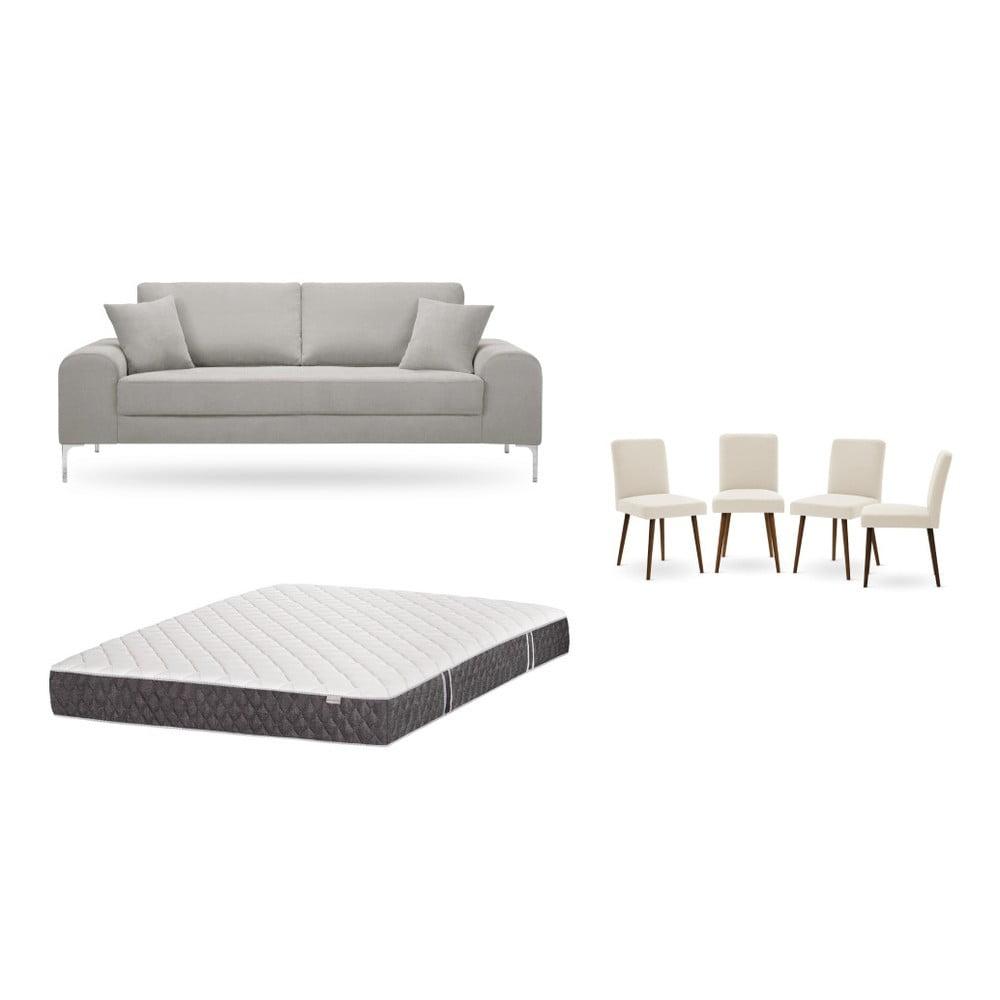 Set trojmiestnej svetlosivej pohovky, 4 krémových stoličiek a matraca 160 × 200 cm Home Essentials