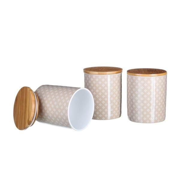 Sada 3 porcelánových dóz Sparkle Beige