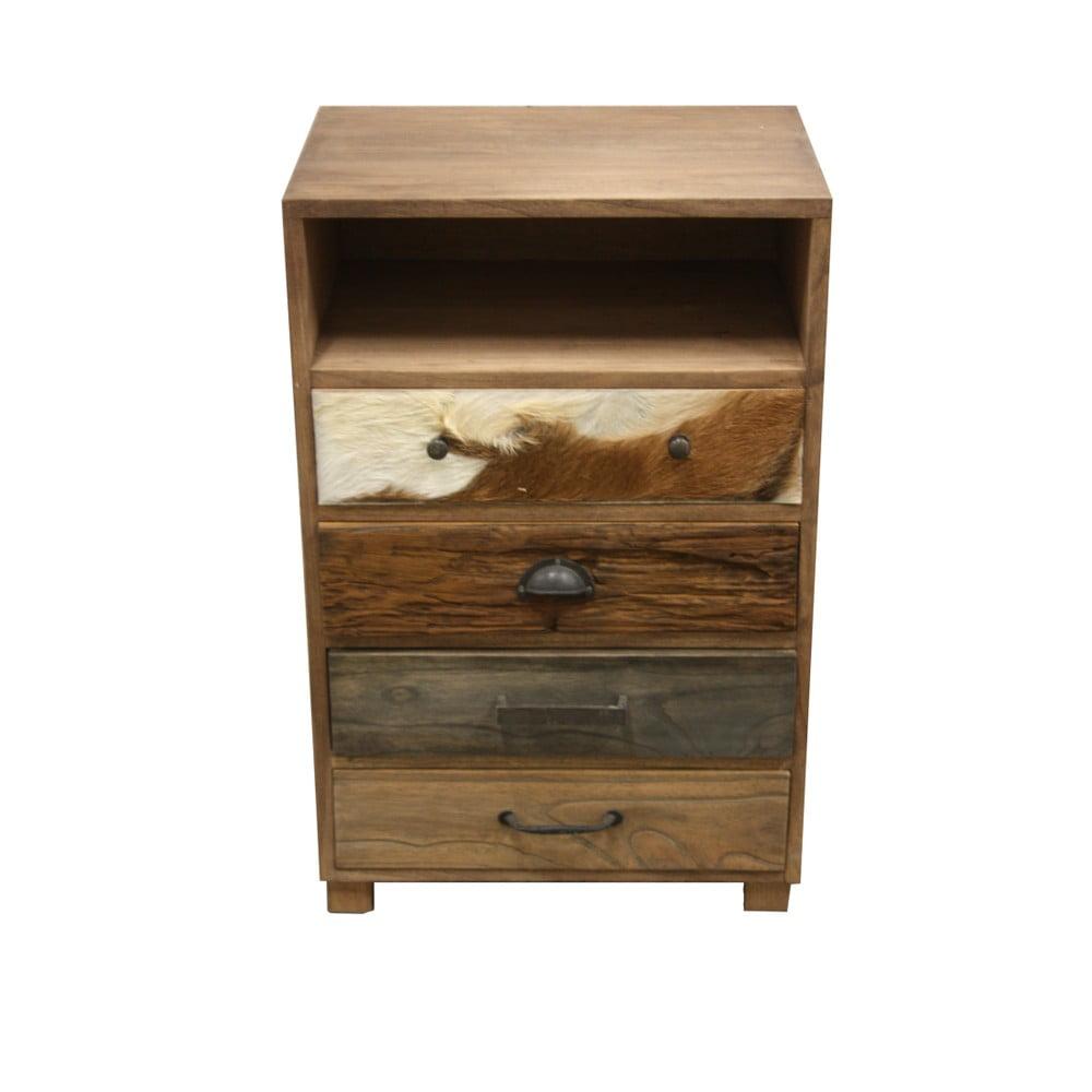 Drevená komoda so 4 zásuvkami a detailmi z kozej kože HSM Collection Texas