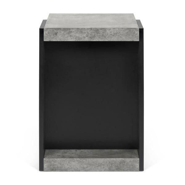 Čierny príručný stolík s detailmi v dekore betónu TemaHome Klaus