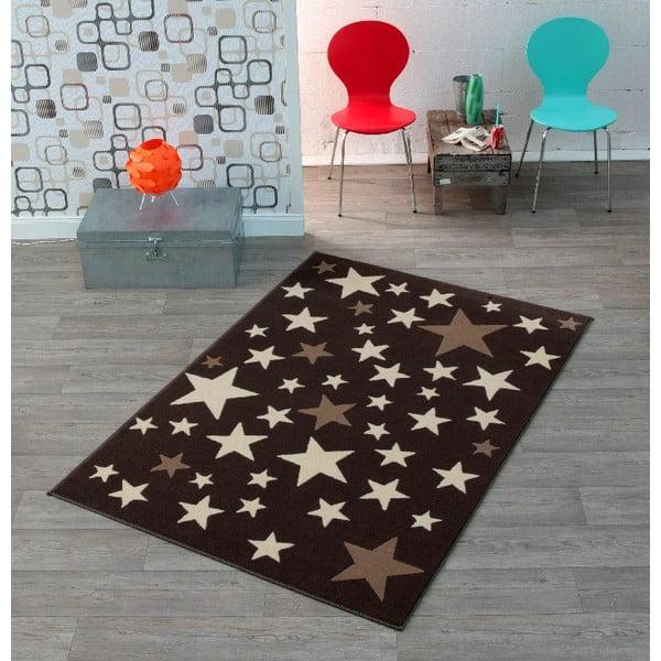 Detský hnedý koberec Hanse Home Hviezdy, 140×200cm