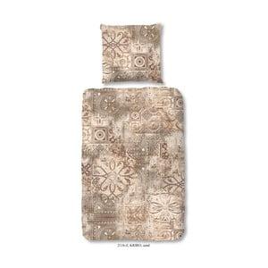 Obliečka na dvojlôžko z bavlneného saténu zouzou Kriro Sand, 200 x 200 cm