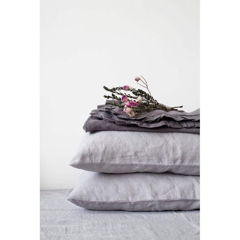 Svetlosivá ľanová obliečka na vankúš Linen Tales, 70 x 90 cm